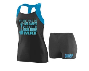 Cheer Practice Set Rule the Mat BLUE TANK
