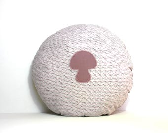 Cushion round purple mushroom pattern