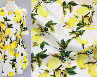 "White cotton fabric sale with lemon style, printed cotton fabric, baby girl clothes fabric, by the 1m-SQG-59""Wide"