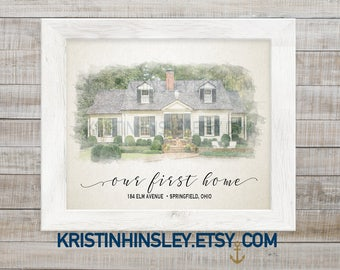 Custom House Portrait, Watercolor Painting, Valentine's Gift Personalized, First Home Gift, Paper Anniversary Gift, Closing Gift, House gift