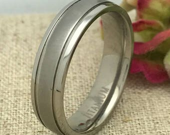 6mm Personalized Titanium Wedding Band, Custom Engraved Promise Ring, Couples Ring, His and Hers Ring, Purity Ring, Wedding Ring