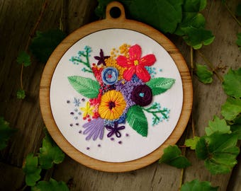 Hand embroidered /Hoop art/ wall hanging/ Flower embroidery