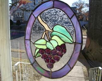 Stained Glass Grape on the Vine Suncatcher