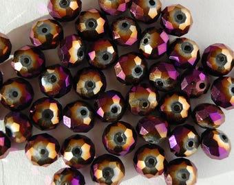 10 pearls 6x8mm Crystal faceted flat metallic purple