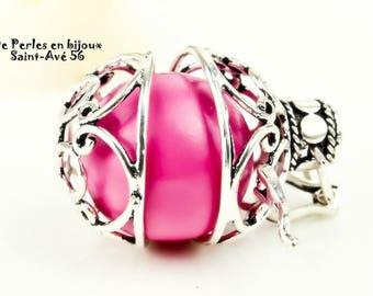 Bird cage charm round pendant silver musical ball fUCSHIA pink