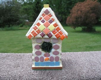 """Handmade stained glass birdhouse 6"""" tall"""