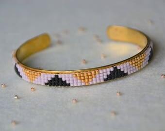 Woven Bangle Bracelet: Pink, black and gold