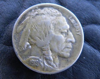1919 US circulated  authentic vintage Buffalo Indian Nickel coin full date full horn  A138