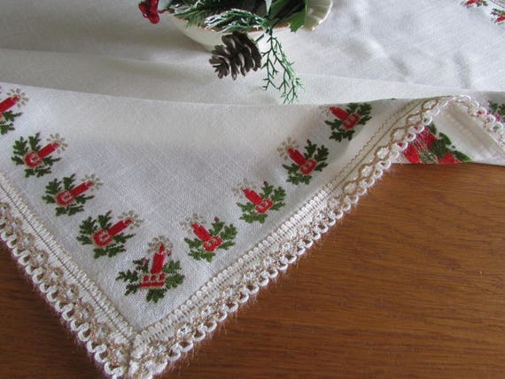 Vintage West German Christmas Tablecloth