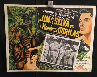Original 1950 Tarzan Mark Of The Gorilla Mexican Lobby Card Movie Poster, Johnny Weissmuller as Jungle Jim