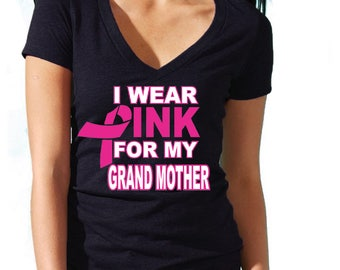 I Wear Pink For My GRANDMOTHER Lady VNECK TSHIRT Support Breast Cancer Womens Vneck Tee Shirt