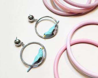 Retro Novelty Parrot Bird Hoop Earrings, Parrots on Parade, Gift