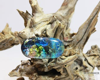 Resin and wood ring,magic world under the ocean,special and unique gift