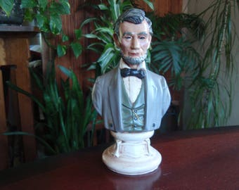 Abraham Lincoln Head Bust Pottery Collectible President Lincoln Memorabilia Figure Figurine C507