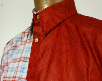 ADEMIMO men shirt, 100%cotton,Bazin and poplin, bone buttons, S/M size.