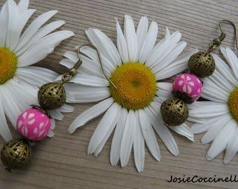 Bronze earrings polymer clay flowers & beads
