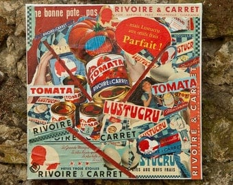 """""""PASTA"""" COLLAGE ON CANVAS PUBS 50S - 60S"""