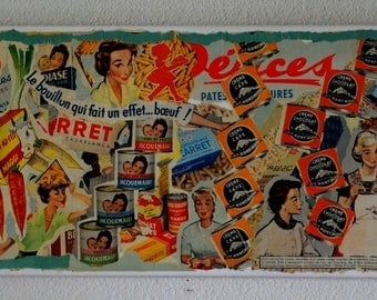 """""""BLOW"""" COLLAGE ON CANVAS VINTAGE ADS 50 TO 60 YEARS"""