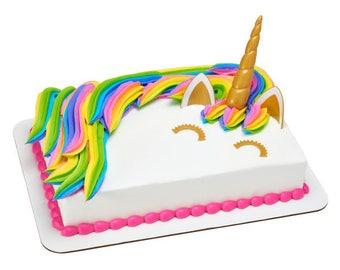 Unicorn Cake Topper Kit/Golden Unicorn Horn Cake Topper Kit/Magic Unicorn Cake Topper Kit/Fantasy Unicorn Cake Topper