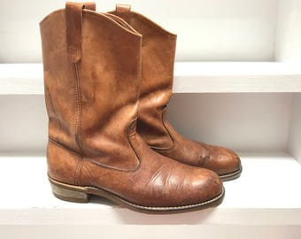 Vintage Mens 11 D Brown Leather Pull On Cowboy Worker boots with goodyear sole. made in usa