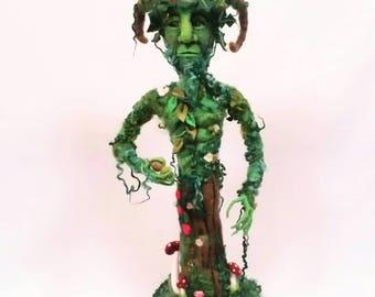 The Green Man Pagan God. Large Needle Felted Green Man Statue. Pagan Art, OOAK Fantasy Art Figure. Fiber Art Doll.