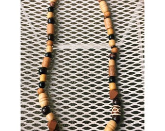 Bulky Mixed Up Brown Wood Bead Necklace