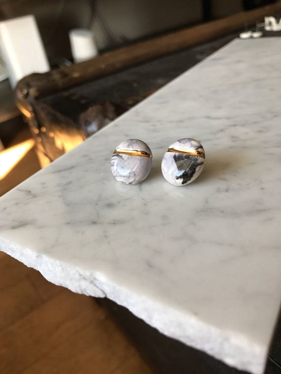 Extra large marble and gold studs