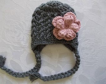 Baby earflap hat Baby girl hat Winter baby hat Newborn girl hat Crochet baby hat Charcoal baby hat Girl winter outfit Newborn girl outfit