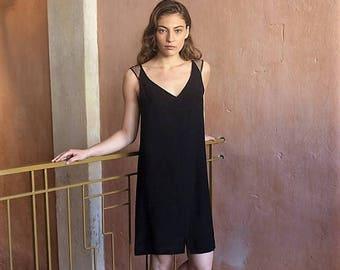 Christmas in July Black Women Dress, Black Evening Dress, Short Dress, Summer Dress, Black Knee Dress,Black Sleeveless Dress, Formal Party D