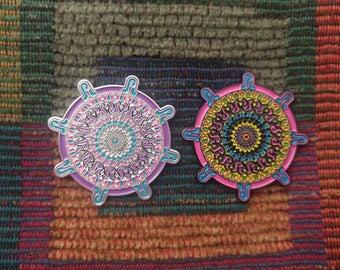 Set of 2 PL Family Music Purple & Neon Sacred G Geometry Mandala Enamel Lapel Hat Pin