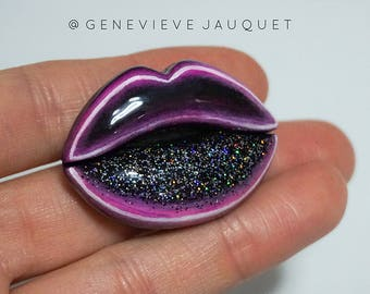 Galactic Neon Light Lips Brooch/Pin/Badge/Pendant
