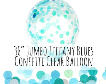 """Tiffany Blue, Aqua, Turquoise Confetti Balloon, 36"""" Extra Large Balloon, Clear Balloon Filled with Confetti, Party Decor, Wedding Photo Prop"""