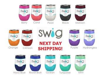 Swig 9oz Wine Stainless Steel Stemless Cups with Lid / Swig Wine Glass / Monogram / Swig wine