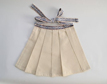 Toddler/Child's Pleated Half Apron with Blue Ethnic Ties