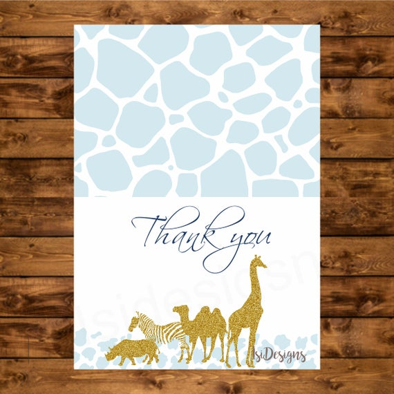 Blue Safari Thank You Card Instant Download Printable Baby Shower