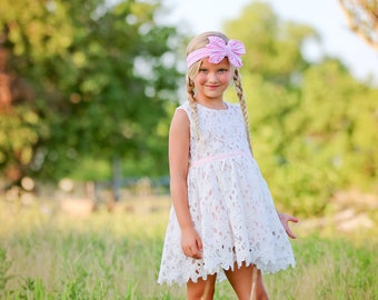 Girl Lace Dress Birthday party girl dress Shabby Chic Dress girls dress Country Flower Girl Dress Cotton Lace Dress