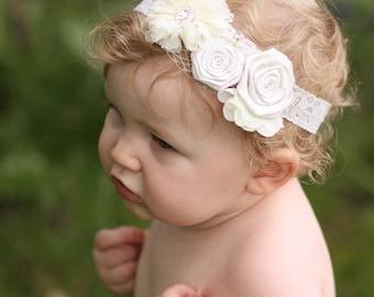 Baby Ivory Lace Headband, Newborn Lace Headband, Chiffon Flower Headband, Ivory Headband, Newborn Photo prop