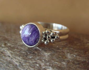 Navajo Artisan handmade sterling silver and purple charoite in multiple sizes