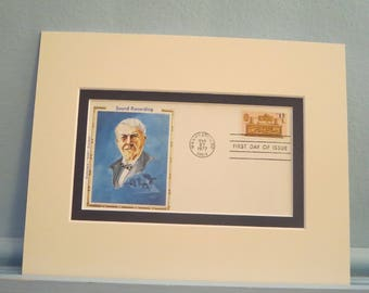 Honoring Inventor Thomas Edison and his invention of the phonograph and the First day Cover of his own stamp