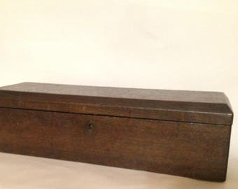 Vintage Oak Toolbox - Chamfered Lid - Original Escutcheon