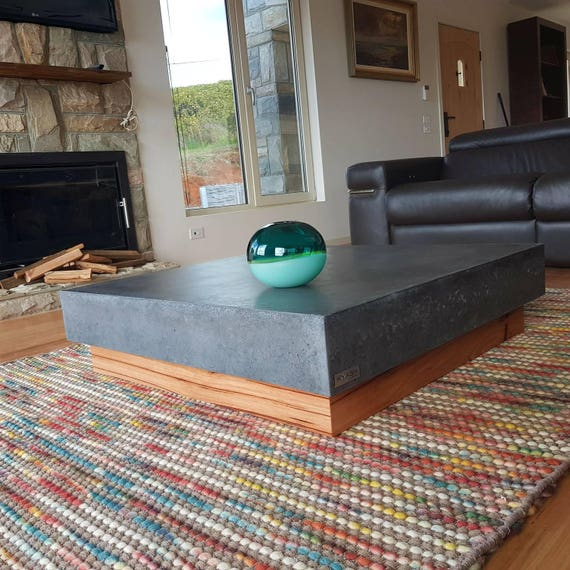 Polished concrete square coffee table vic ash hardwood base for Low lying coffee table
