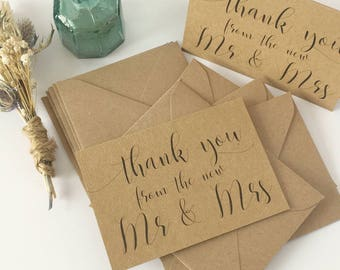 Wedding Thank You Cards Wedding Thank You Notes 10pk Wedding Thank You Card Set and envelopes MINI Thank You Cards