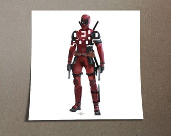 """Deadpool Poster Typography Design from the Marvel Universe with his name, """"Deadpool"""" on this Red and Black Wall Poster with Ryan Reynolds"""