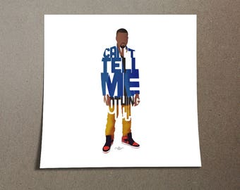 "Kanye West Poster Typography Design of Quote, ""Can't Tell Me Nothing"" Blue and Gold Poster of Rapper and Singer Yeezy for Home Wall Decor"