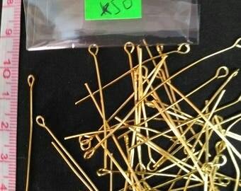 Set of 50 PCs 40mm golden eye pins.