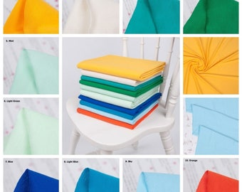 Solid Cotton Knit Fabric, Cotton Stretchy Knit Fabric by Yard Width 170cm(66 Inch)- 10 Colors Selection