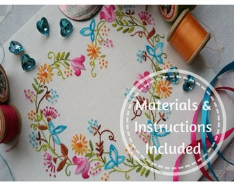 Traditional Transfer Embroidery Kit 'Tranquillity' (Brights) ; Beautiful Kits from Maggie Gee Needlework