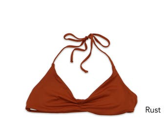 Seamless Strappy Back Bandeau Halter Bikini Top, Swimwear, Swimsuit Top, Bathing Suit Top, Bikini Top