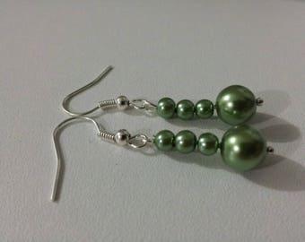 Wedding earrings silver green pearls