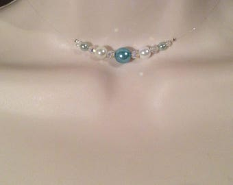 Necklace Choker bridal necklace Pearl and swarovski white and turquoise wedding evening ceremony